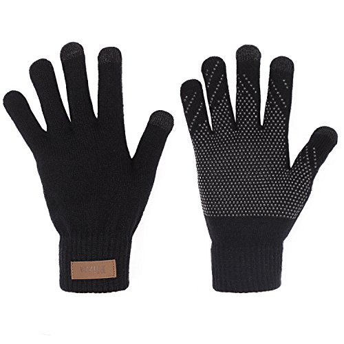 Plizza Winter Touchscreen Knit Gloves Best Thick Magic Fleece Lined Gloves Touch Screen Mittens for Iphone Smartphone Texting Driving Cycling Outdoor Anti-skid Windproof in Cold Weather Women Men