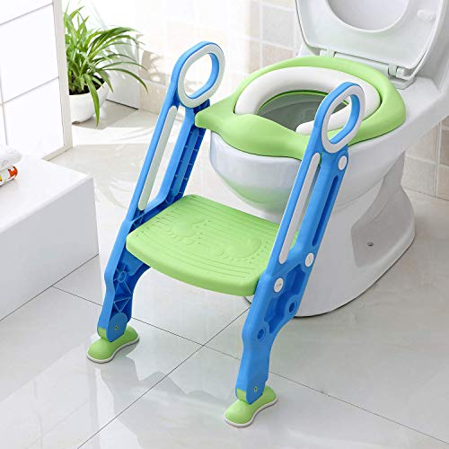 Potty Training Seat, Toddler Toilet Seat with Step Stool, Potty Chairs for Toddlers Girls with Sturdy Non-Slip Floor Pads and Wide Steps, Comfort Handles, Soft Cushion Seat (Blue+Green)