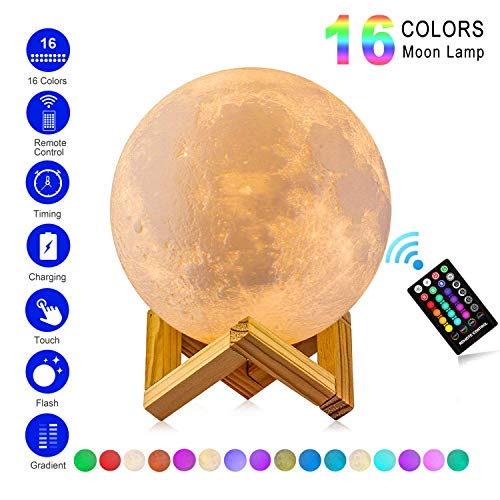 ANTOOR Moon Lamp 3D Printing 16 Colors LED with Stand & Touch Control & Remote Control and USB Rechangerable for Kids Gifts(Diameter 5.9 inch)