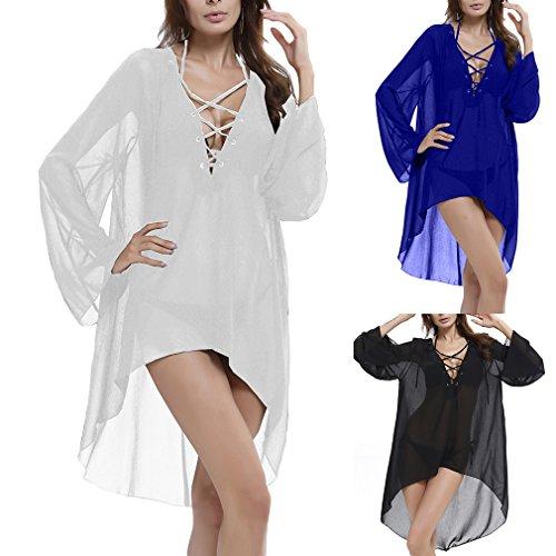 Solid Women Neck Ru V Xiang Line High Loose Dress A White Low xqBnwY5F
