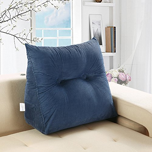 Vercart Sofa Bed Large Upholstered Headboard Filled Triangular Wedge Cushion Bed Backrest Positioning Support Pillow Reading Pillow Office Lumbar Pad with Removable Cover Denim Blue 20x24 Inches