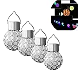 xhope Shockproof 4 pcs Crackle Globe Sloar Lantern,Changing 7 Colors Outdoor Garden Solar Lamp,LED Hanging Lights Decorative Patio Lamp for Party,Outside,Tree,Yard