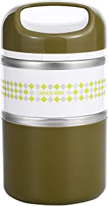2 Layers Stainless Steel Lunch Containers with Handle, Insulated Lunch Box Stay Hot 3h, Leak-proof Food Containers for Adults, Teens, Work, School - 42 oz, Green
