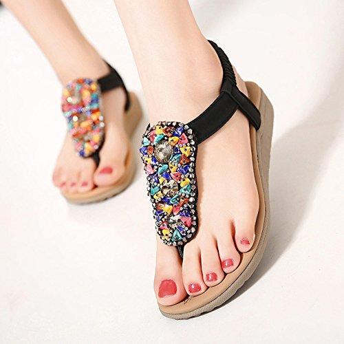en décoration JDS plat colorée Sandale avec de ornementale d'été Noir Fortuning's thong pierre zFC8qq