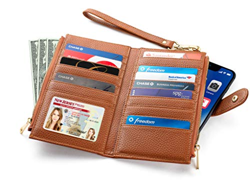 Women's Luxury RFID Blocking Bifold Wallet | Slim Multi Card Case Purse With Zipper Pocket (Tan)