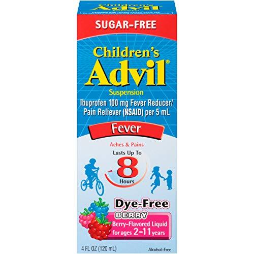 Advil Childrens Ibuprofen - Advil Children's Suspension Sugar Free, Dye Free, Berry 4 oz (Pack of 2)