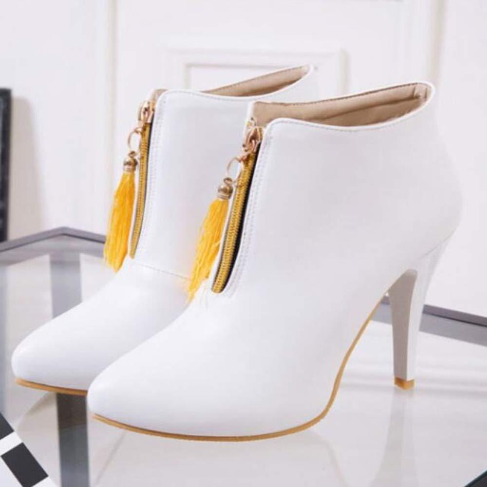 CITW Damenstiefel Spitzen Hochhackige Stiefel Nackte Stiefel Martin Stiefel Große Damenstiefel Warme Stiefel,Weiß,UK3 EUR37