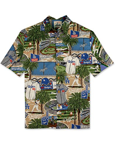Reyn Spooner Men's Los Angeles Dodgers MLB Classic Fit Hawaiian Shirt, Scenic 2018, M
