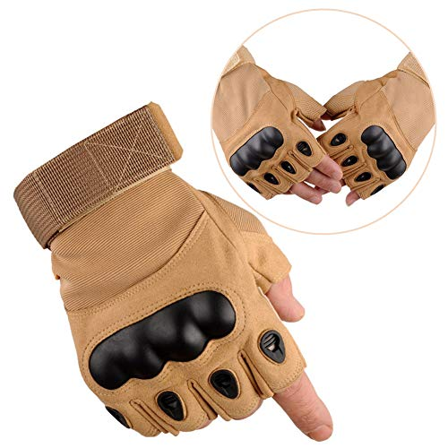 Tactical Gloves Military Hard Knuckle Fingerless Half Finger Gloves Army Shooting Combat Gloves for Cycling Motorcycle Airsoft Paintball Army Gear Sport Hiking, SandColor X-Large
