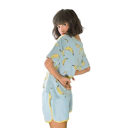 Verano linda señora manga corta pijamas traje de servicio a domicilio (Color : Azul ,