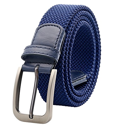 Weifert Belt for Men Braided Stretch Belt/No Holes Elastic Fabric Woven Belts (28-30