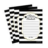 25 Graduation Advice Words of Wisdom Cards For Graduate Class of 2018 College, High School, University Grad, Funny Black and Gold Party Games Presents Activities Keepsakes for 4x6 photo album Supplies