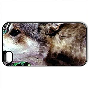 Angry Wolf - Case Cover for iPhone 4 and 4s (Watercolor style, Black)