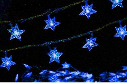 34ft Outdoor Star shape Lights LED Twinkle Lights & USB Powered &Transparent String Cable(Sky (Blue Transparent Cables)