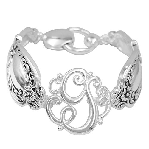 Spoon Handle Style Monogram Initial Silver Tone Magnetic Clasp Bracelet (Letter G)
