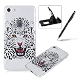 Clear Case for iPhone 7,TPU Case for iPhone 7,Herzzer Fashion [Leopard Pattern] Soft Silicone Gel Bumper Cover Flexible Transparent Skin Case for iPhone 7 4.7 inch + 1 x Free Black Cellphone Kickstand + 1 x Free Black Stylus Pen
