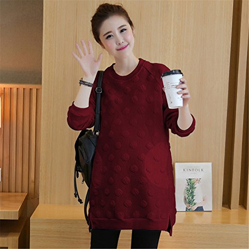 spyman Nice Dot Maternity Dress Cotton Hoodies Autumn