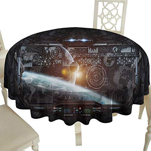 Tablecloth 60 Inch Outer Space,Control Panel of Cockpit Screen in The Spaceflight Androids World Stardust,Orange Gray Great for Buffet Table,Parties,Holiday Dinner & ()