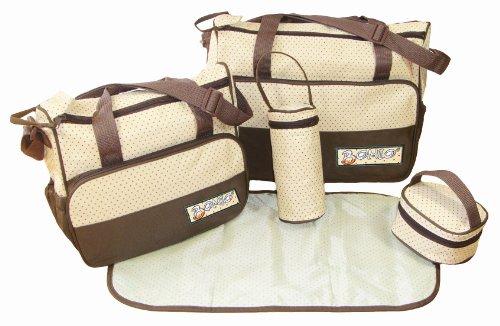 DAS ORIGINAL BOMIO® 5teiliges Baby Wickeltaschen Set mit viel Stauraum (Braun)