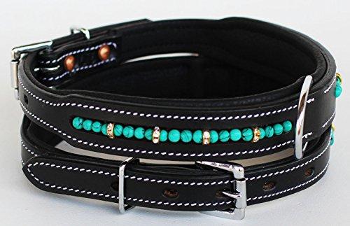PRORIDER Large 21''- 25'' Rhinestone Dog Puppy Collar Crystal Cow Leather 6021B