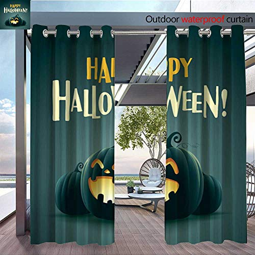 (Exterior/Outside Curtains Happy Halloween! Halloween Pumpkins 2 for Patio Light Block Heat Out Water Proof Drape W96 x)