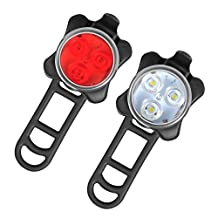Arespark LE Rechargeable LED Bike Light Set,Headlight Taillight Combinations,Includes Front and Rear Bicycle Light Set, Bike Lights,2 USB Cables,4 Light Modes, 350lm,Water Resistant, IPX4