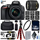 Nikon D5600 DSLR Wi-FI NFC 24.2MP DX CMOS Camera AF-P 18-55mm VR Lens + UV Protection Lens Filter + 12 inch Flexible Tripod + Camera Case - International Version