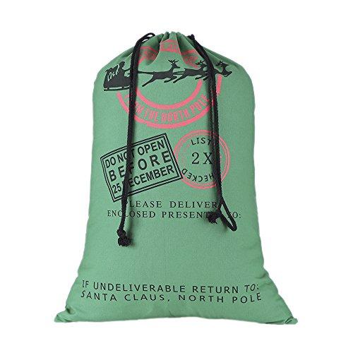 lo lord Santa Sack Large Christmas Gift Bag 100% Cotton Gunny Burlap Santa Bag for personlized (Green Pattern B)
