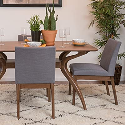 Christopher Knight Home Kwame Fabric / Walnut Finish Dining Chairs, 2-Pcs Set, Dark Grey - Enjoy these fabric dining chairs in your dining room. With a gorgeous Finish on the legs, and a squared off design, these dining chairs are sure to PLEASE. Not only will you be dining in comfort, but you don't have the added Bulk of many large dining chairs, allowing you to dine in both style and ease! Material: fabric Leg material: solid rubber wood Assembly required - kitchen-dining-room-furniture, kitchen-dining-room, kitchen-dining-room-chairs - 51OPnSHERNL. SS400  -