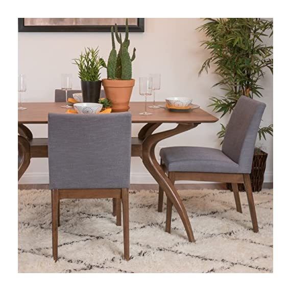 Christopher Knight Home Kwame Fabric / Walnut Finish Dining Chairs, 2-Pcs Set, Dark Grey - Enjoy these fabric dining chairs in your dining room. With a gorgeous Finish on the legs, and a squared off design, these dining chairs are sure to PLEASE. Not only will you be dining in comfort, but you don't have the added Bulk of many large dining chairs, allowing you to dine in both style and ease! Material: fabric Leg material: solid rubber wood Assembly required - kitchen-dining-room-furniture, kitchen-dining-room, kitchen-dining-room-chairs - 51OPnSHERNL. SS570  -