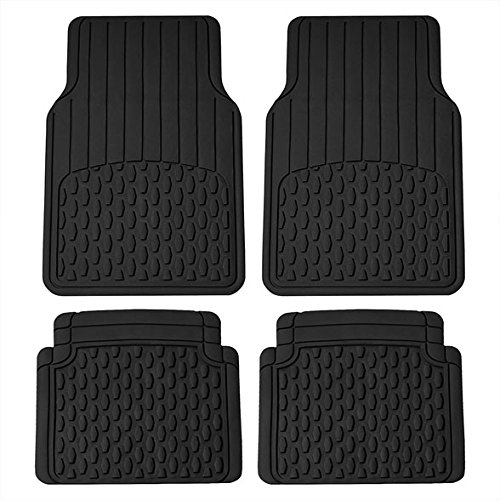FH Group F11308 All Weather Vinyl Floor Mats (Full Set Trimmable Custom Fit), Black Color ()
