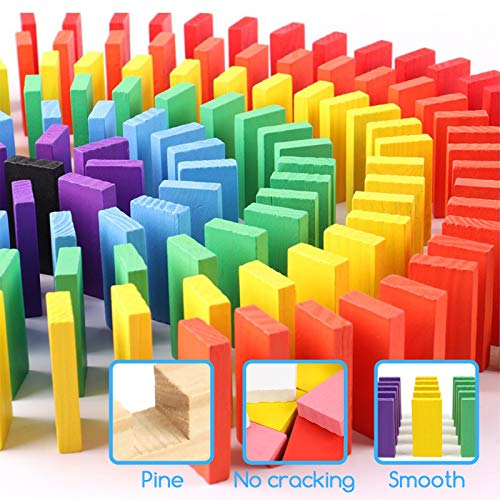 BigOtters Super Domino Blocks Set, 108PCS Extra Large Domino Starter Kit Colorful Wooden Domino Blocks Race Tile Game Educational Toys for Boys Girls Birthday Gift Party Favor