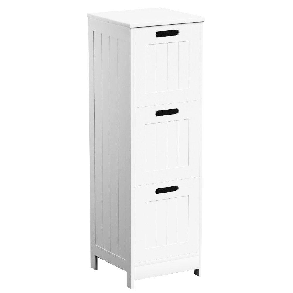 3 Drawers White Wooden Bathroom Storage Cabinet Freestanding ...