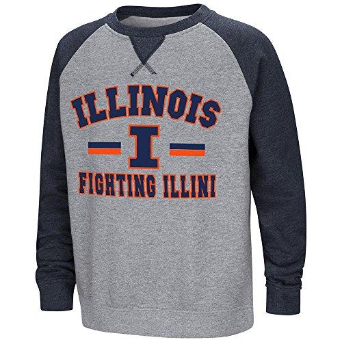 Colosseum Youth Illinois Fighting Illini Fleece Crewneck Sweatshirt - S