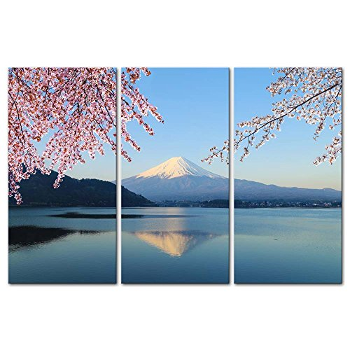 Wall Art Decor Poster Painting On Canvas Print Pictures 3 Pieces Mount Fuji Cherry Blossom View Lake Kawaguchiko Japan Landscape Mountain&Lake Framed Picture For Home Decoration Living Room Artwork - Cherry Panel Poster