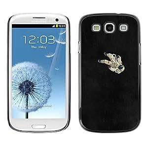 FECELL CITY // Duro Aluminio Pegatina PC Caso decorativo Funda Carcasa de Protección para Samsung Galaxy S3 I9300 // Astronaut Black Minimalist Cosmos
