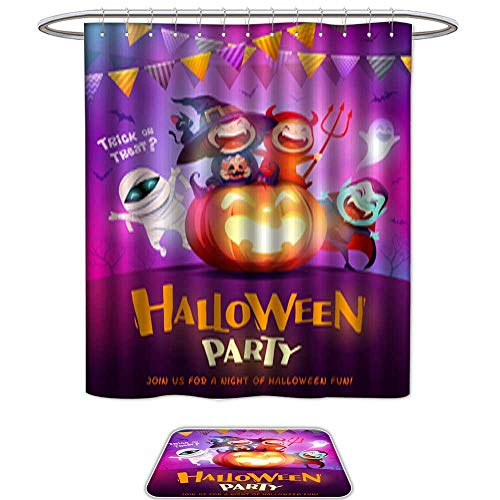QianHe Shower Curtain and Mat SetHalloween Celebration Fun Party Group of Kids in Halloween Costume Sitting on a Giant Pumpkin Set of 2 Machine Washable ()
