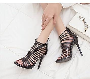 Tacones 5 Hueco Zapatos Cuero De Cm Negros Fino Con Khskx 8 0Pvy8nwOmN