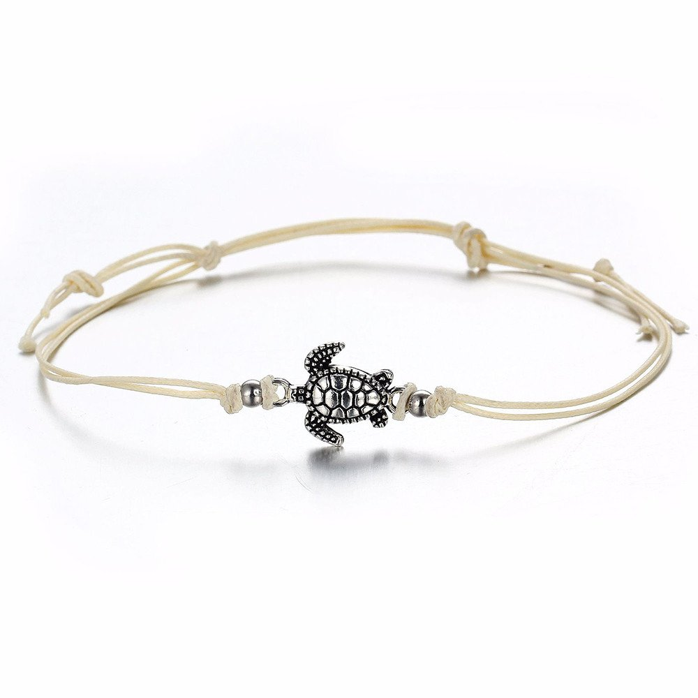 Feitengtd Women's Turtle Beach Foot Chain Anklets Vintage Bracelet Jewelry for Valentine's Day (White)