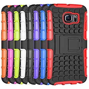 Cell Buddy 50Pcs S6 Heavy Duty Shock Proof Impact Rugged Hybrid Case For Samsung Galaxy S6 Kick Armor Phone Back Stand Cover Wholesale --- Color:White