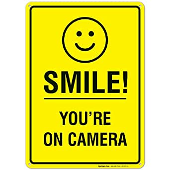 Smile Youre on Camera Sign, Video Surveillance Sign, 10x14 Heavy Aluminum, Smile Sign, UV Protected, Long Lasting Weather/Fade Resistant, Easy ...