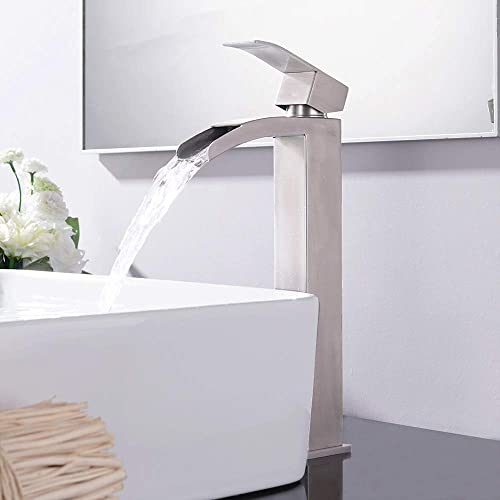 VCCUCINE Modern Vessel Sink Brushed Nickel Tall Waterfall Bathroom Faucet, Single Handle Mixer Vessel Sink Faucet with Two 3 8 Hoses