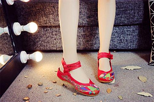 de Exposed Mary Rojo Hebilla China Correa Pisos de Para Embroideried de Caminando Real Ocio Jane Zapatos Lona La de Heel Sandalias Pavo Transpirable Mujer qvH46wx