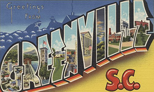 (Greenville, South Carolina - Large Letter Scenes (12x18 Art Print, Wall Decor Travel Poster))