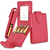 Celljoy Lipstick Travel Case For Lipsense, Younique, Kylie, Liquid Lipstick and Lip Gloss - Fits 4 Tubes [Touch Up Mirror Business - Credit Card Slot] - Travel Purse Storage (Coral Pink)