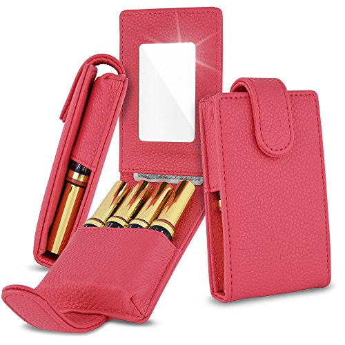 Celljoy Lipstick Travel Case For Lipsense, Younique, Kylie, Liquid Lipstick and Lip Gloss - Fits 4 Tubes [Touch Up Mirror Business - Credit Card Slot] - Travel Purse Storage (Coral Pink) by CellJoy