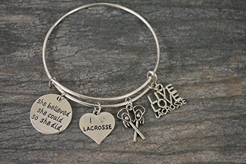 Infinity Collection Lacrosse Charm Bangle Bracelet, Girls Lacrosse She Believed She Could So She Did Jewelry Lacrosse Gifts For Female Lacrosse Players by Infinity Collection (Image #1)'