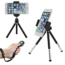 Camkix Universal Adjustable Tripod Kit including Tripod / Universal Phone Holder / Velvet Phone Bag / Microfiber Cleaning Cloth - Suitable for iPhone, Samsung and Most Other Phones (Universal Tripod + Bluetooth Shutter Remote)