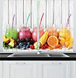 Ambesonne Fruits Decor Collection, Healthy Smoothies with Fresh Ingredients on a Kitchen Board Beverage Blackberry Image, Window Treatments for Kitchen Curtains 2 Panels, 55 X 39 Inches, Pink Orange For Sale