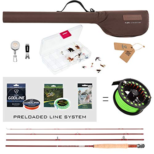 FISHINGSIR Fly Fishing Rod and Reel Combo: Fly Fishing Rod, Light Weight Fly Reel, Braided Fishing Line, Fly Fishing Line Leader Connector, 24PCS Fly Fishing Flies